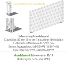 gabionenzaun 15 cm breit mit fu platte triooo naturstein direkt mannheim. Black Bedroom Furniture Sets. Home Design Ideas