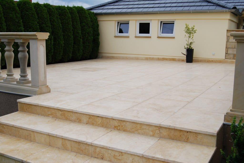 Terrassenplatten Kalkstein Travertin Sindbad Elegance Creme Gelb
